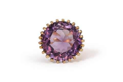 Amethyst Golden Grill Ring