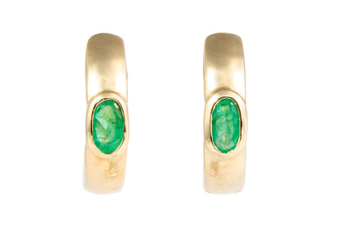 Gold and Emerald Hoops