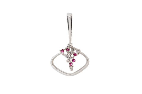 Diamond and Pink Sapphire Pendant in 18ct Gold