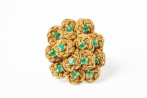 Antique Emerald Gold Basket Ring