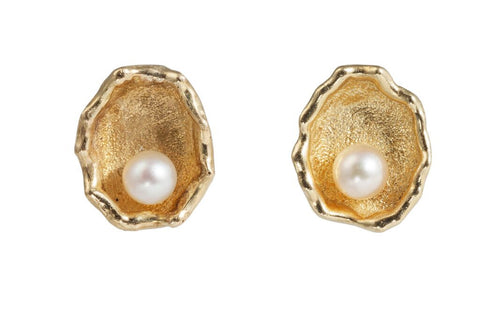 Golden Oyster Shell Pearl Earrings