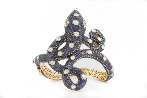 Serpent Cuff in Sapphire and Diamonds