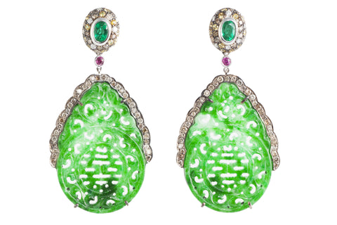 Oriental Dream - Natural Jade, Diamond, Emerald and Ruby Ear Pendants