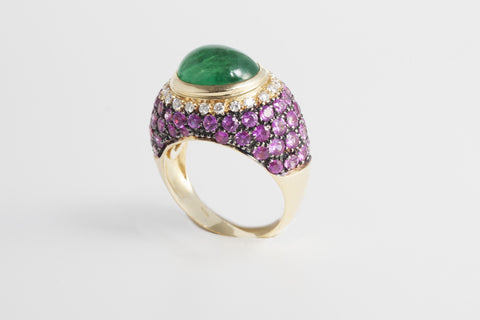 Palermo Emerald and Pink Sapphire Cocktail Ring