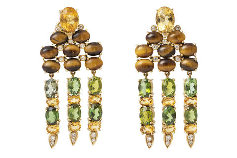Tigers Eye, Peridot, Citrine and Diamond Earrings by Valerie Le Heutre
