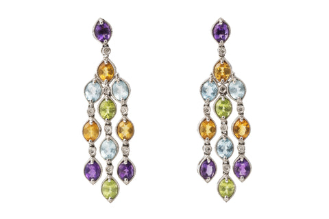 Multi Gem and Diamond Chandelier Earrings