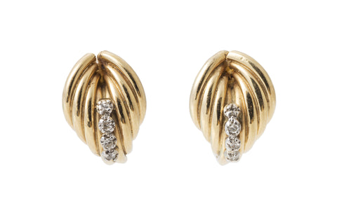 Deco Style Gold and Diamond Shell Earrings