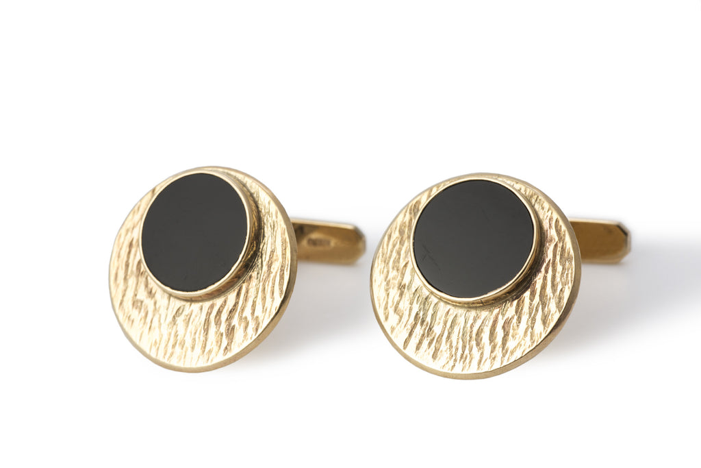Onyx and Gold Cuff Links 1960's