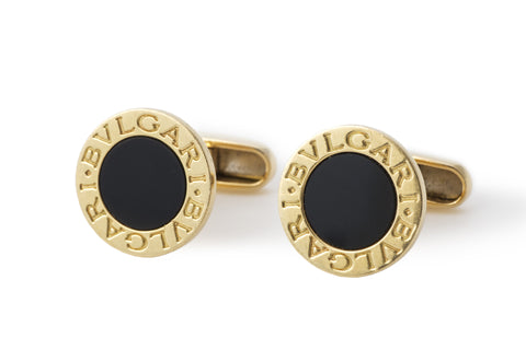 Bvlgari Onyx and Gold Cufflinks