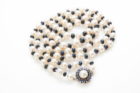 Heirloom Pearl and Sapphire Necklace