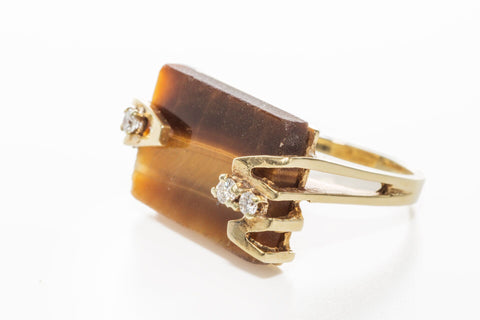Tiger Eye and Diamond Vintage Cocktail Ring