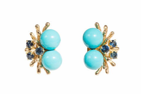 Turqouise and Sapphire Gold Earrings