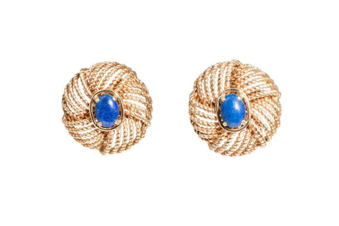 Golden Lapis Lazulli Earrings