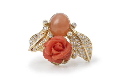 Coral and Moonstone Flower Garden Ring