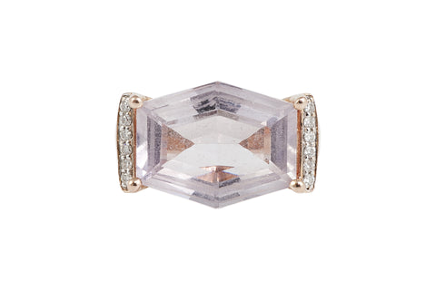 Rose Gold Amethyst and Diamond Ring