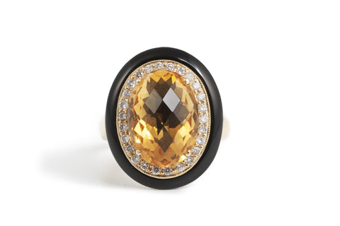 Citrine Diamond and Onyx Ring