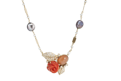Coral, Moonstone and diamond Flower Garden Necklace