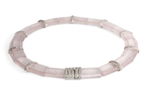 Pink Quartz and Diamond Choker by Valerie Le Heutre