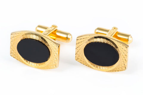 Onyx Gold Plated Vintage Cuff Links