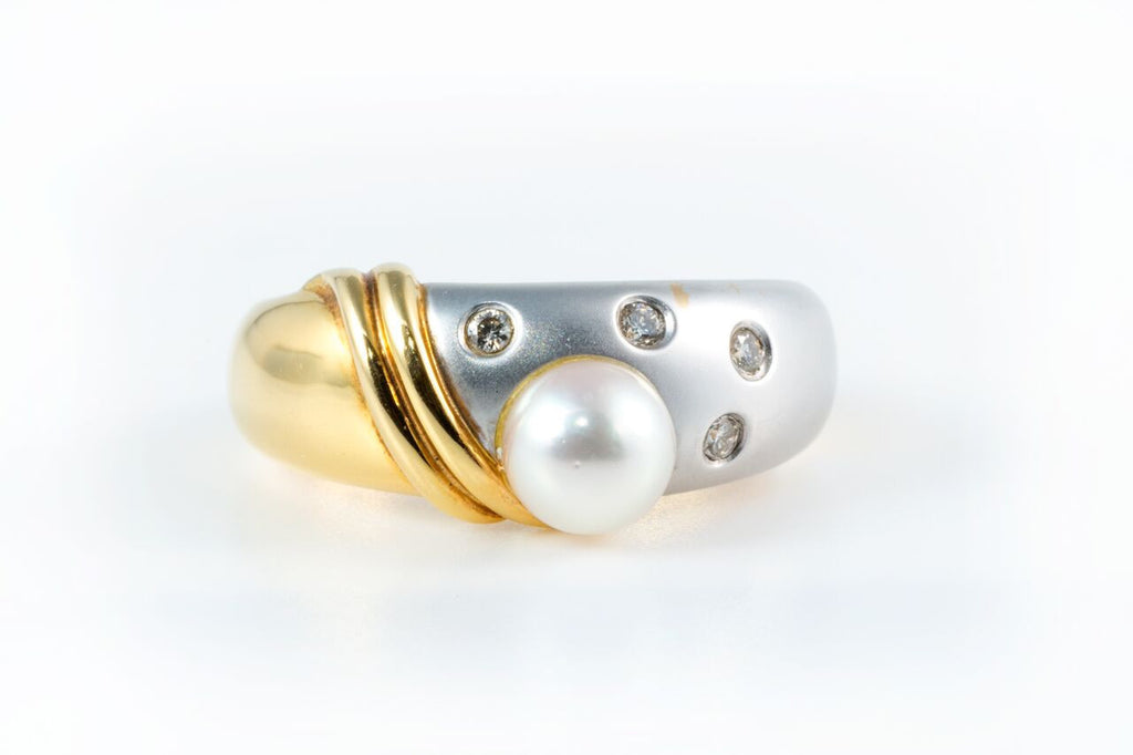Diamond and Pearl Ring in Two Golds