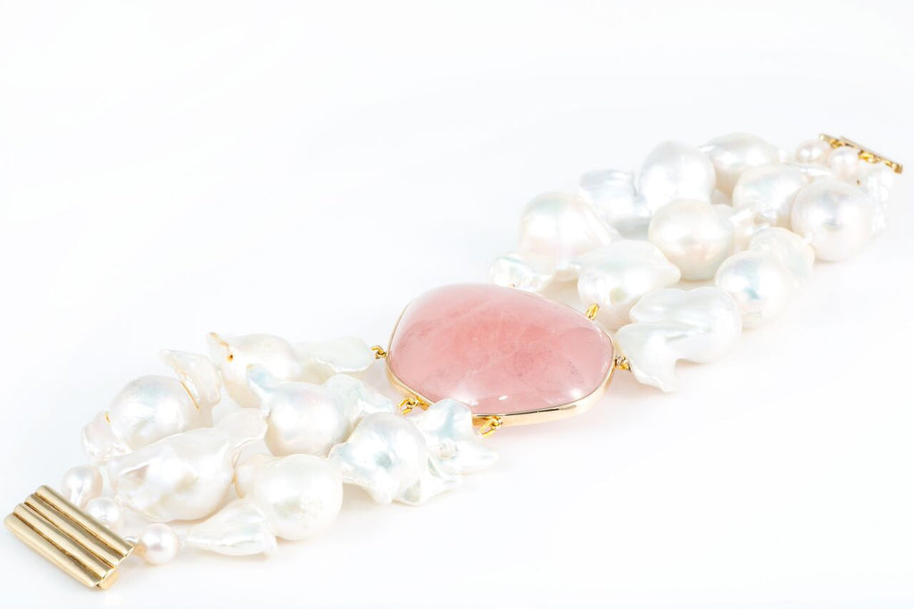 Baroque Pearl and Vintage Rose Quartz Bracelet by Renata for Knightsbridge Rocks