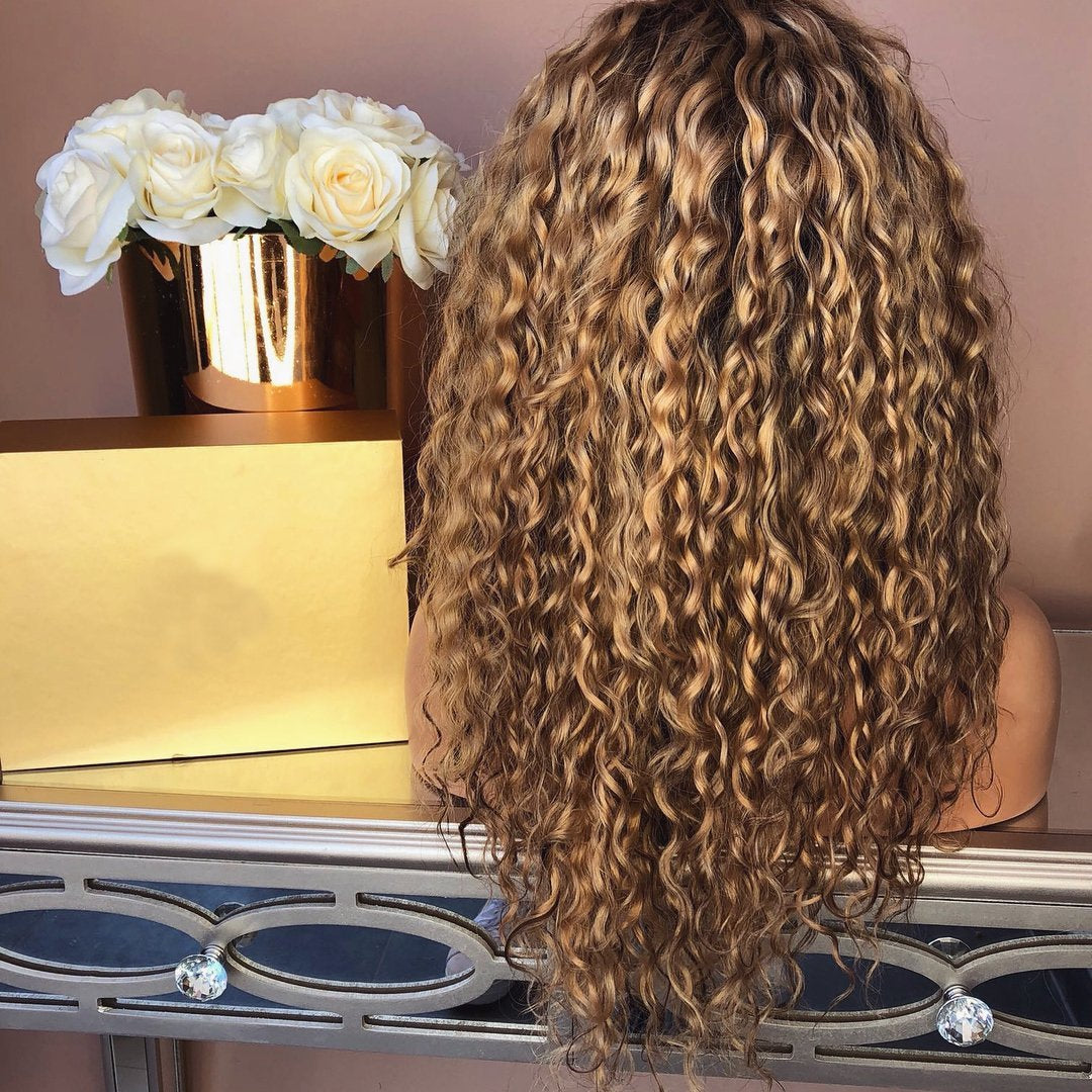 Brown wave curl long hair