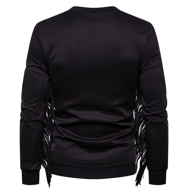 Casual Pure Color Round Collar Fringe Sweatshirt