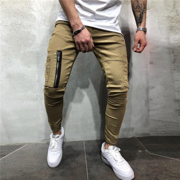Casual Zipper Pocket Design Tooling Style Trousers