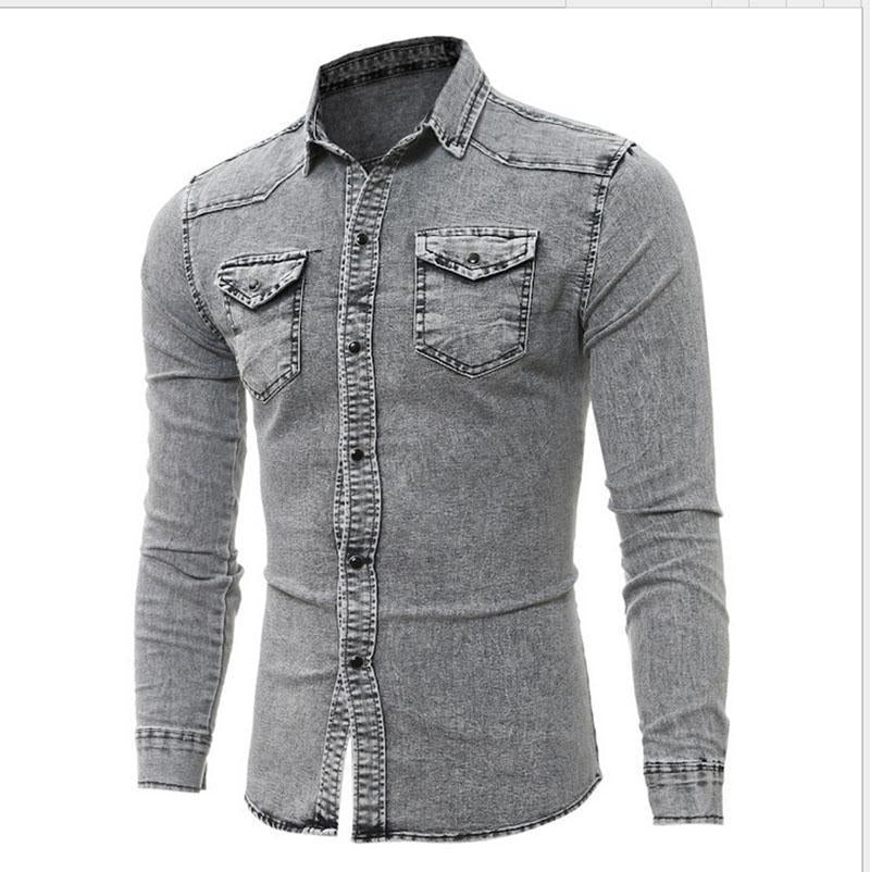 Simple long-sleeved denim shirt men's shirt