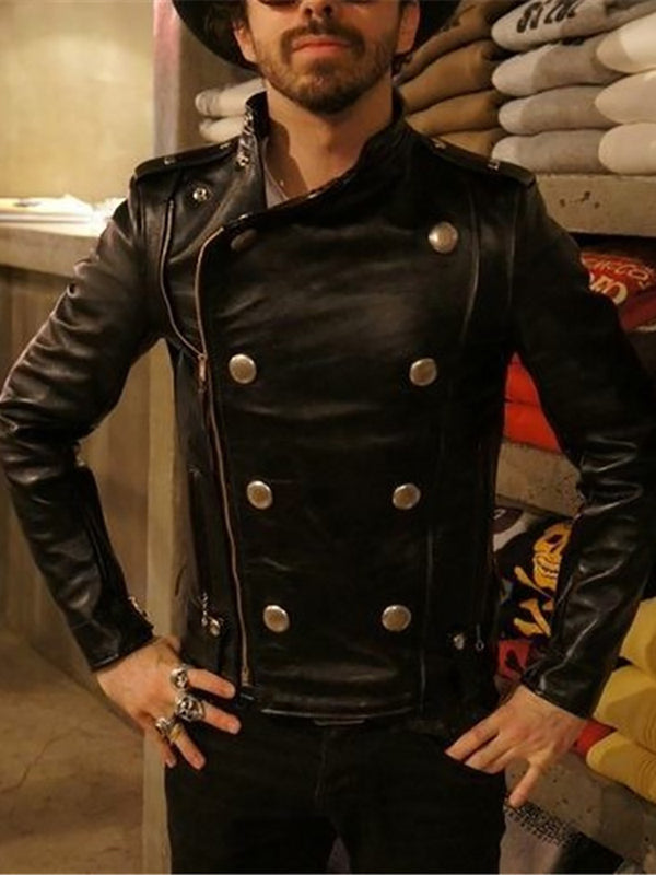Men's Fashion Slim Lapel Zip Leather Jacket