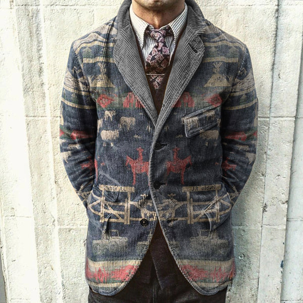Retro Pattern Printed Corduroy Jacket