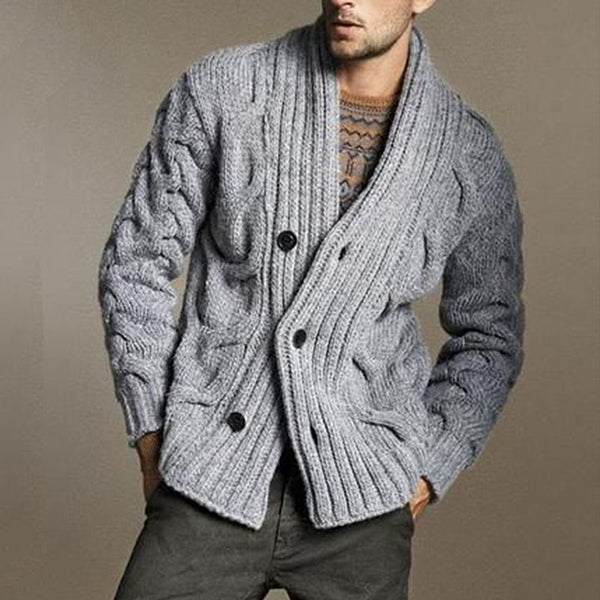 Men's Casual Knit Twist Cardigan Sweater