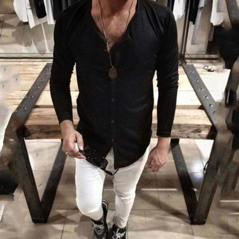 Fashion pure color round collar long sleeve shirt