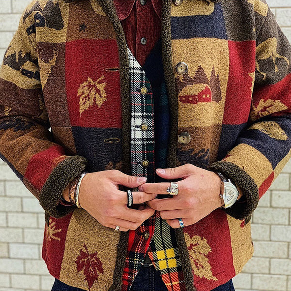 Vintage Single-Breasted Printed Colour Plaid Jacket