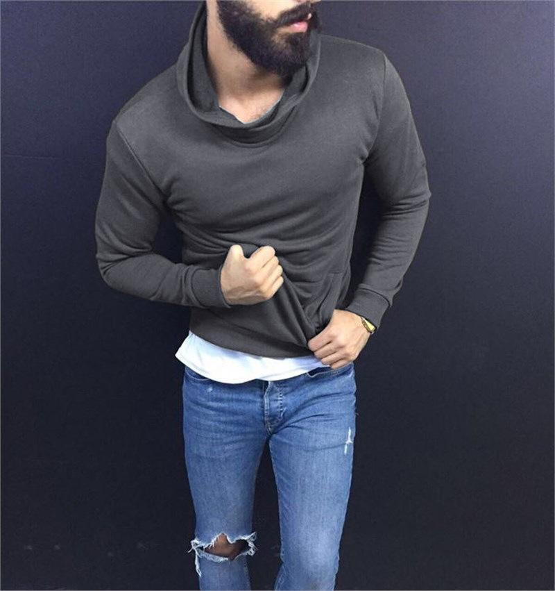 Men's Solid Color Turtleneck Slim Long Sleeve Top