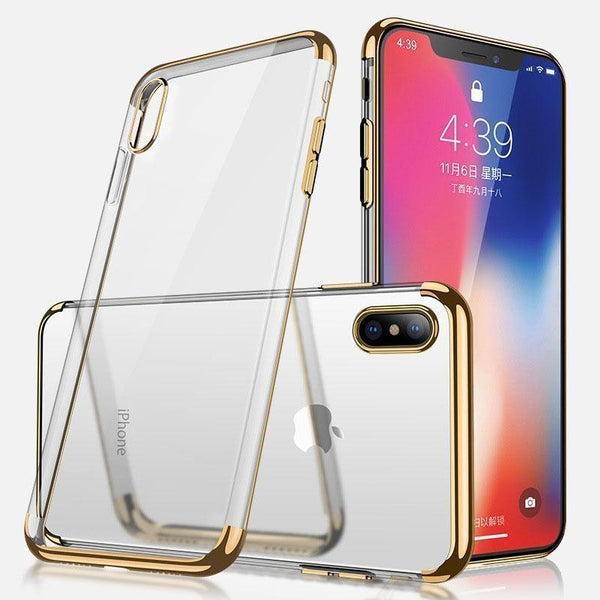 Soft TPU Ultra-Thin Transparent Plating Shining Case For Iphone X Xr Xs Max
