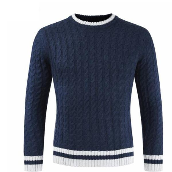 Business Fashion Slim Strip Long Sleeve Men Sweater