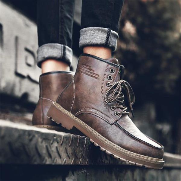 Stylish New Arrival Solid Color High Tube Men Martin Boots Shoes