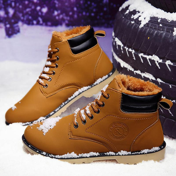 Men Lace-Up Low Heel Winter Faux Fur Split Joint Martin Boots