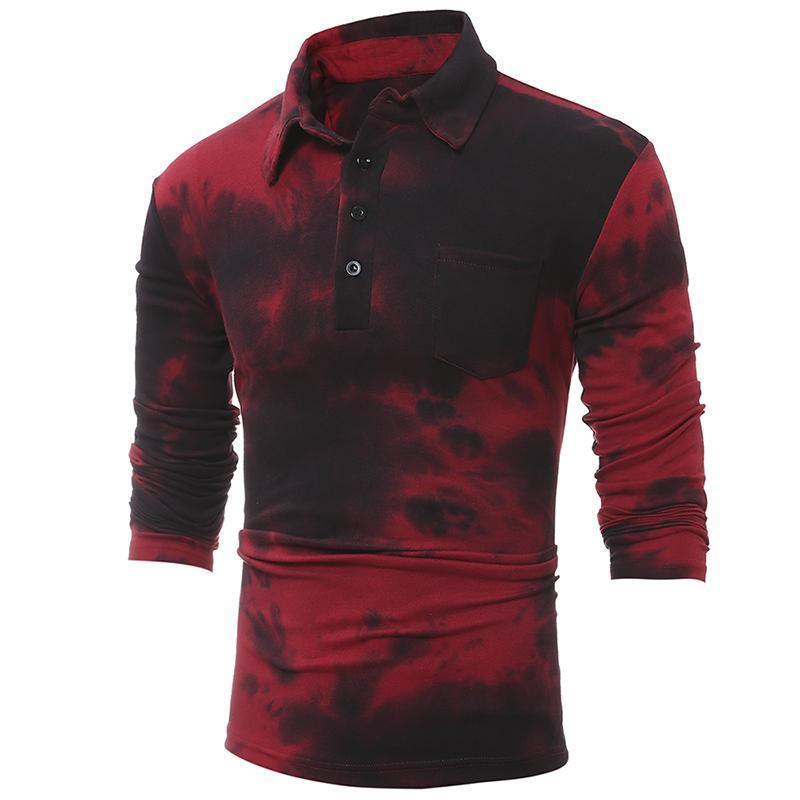 Knot Dyeing Slim Lapel Long-Sleeved T-Shirt