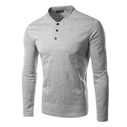 Solid Color Three-Button Long-Sleeved T-Shirt