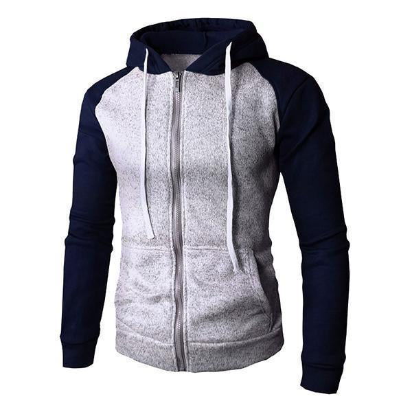 Men's Basic Colorblock Raglan Sleeves Hooded Jacket