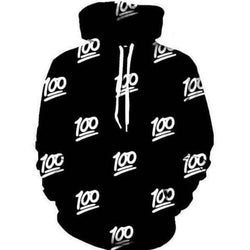Hip Hop 100 Points Printed Loose Hoodie