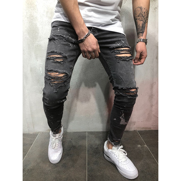 Fashionable Solid Color Ripped Jeans