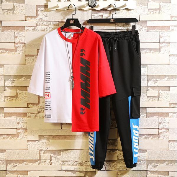 Fashion Men's Street Style Colorblock Tracksuit