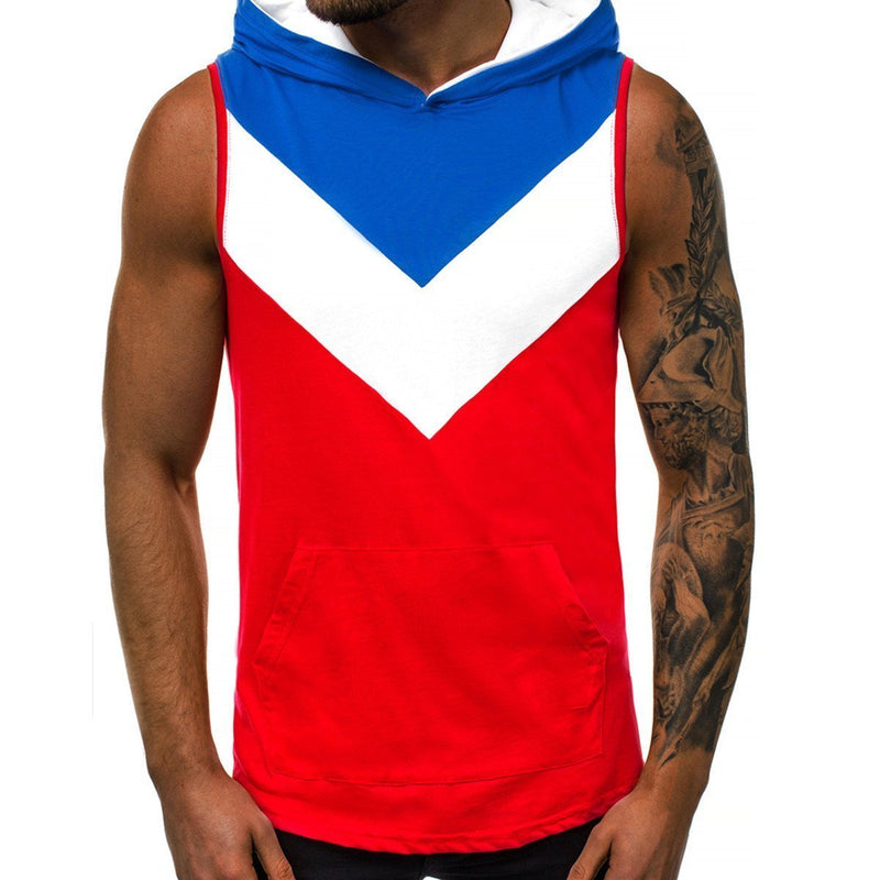 Striped Stitching Cotton Hooded Fitness Vest