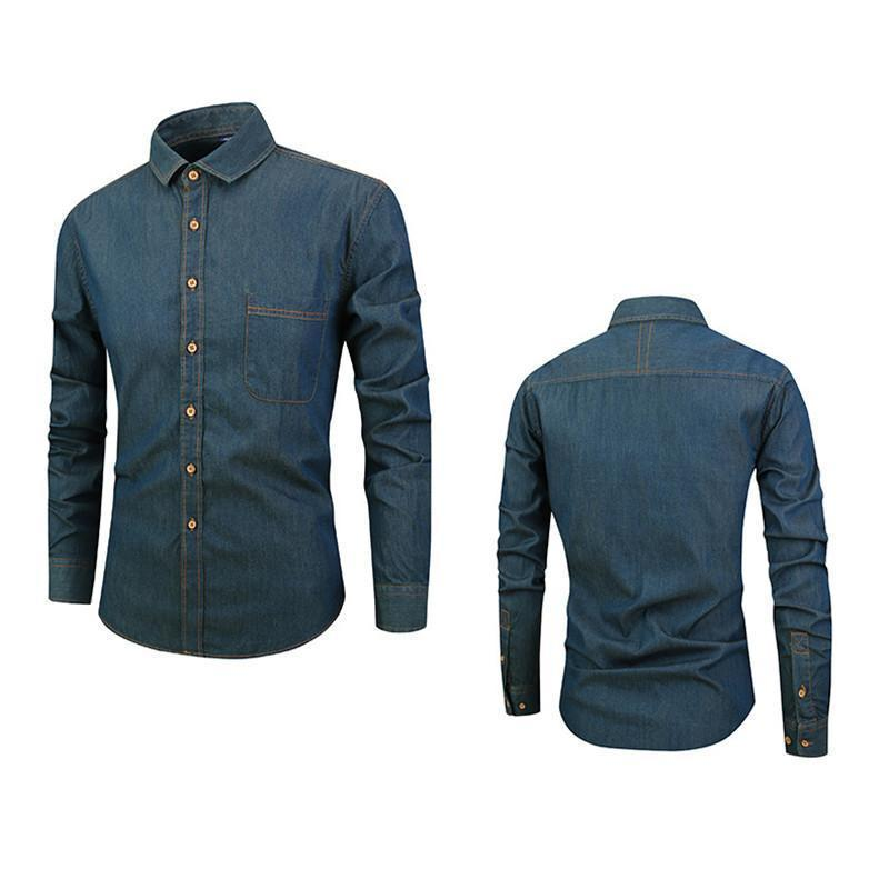 Daily Cotton Denim Slim Casual Long-Sleeved Shirt
