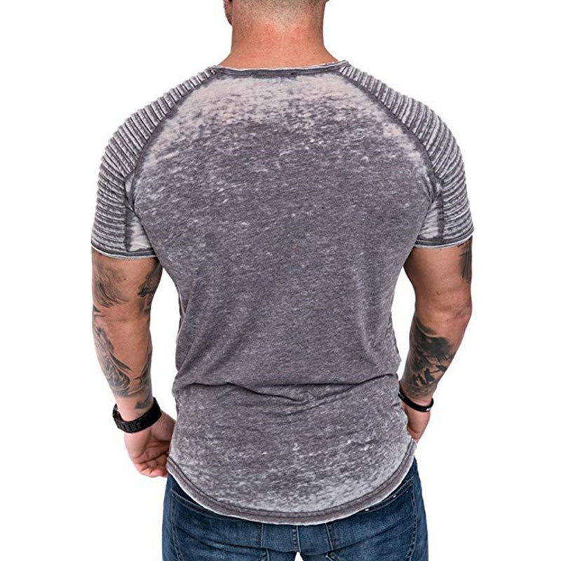 2019 Men's Summer Casual Wrinkled Plain Sports Short Sleeve T-Shirt
