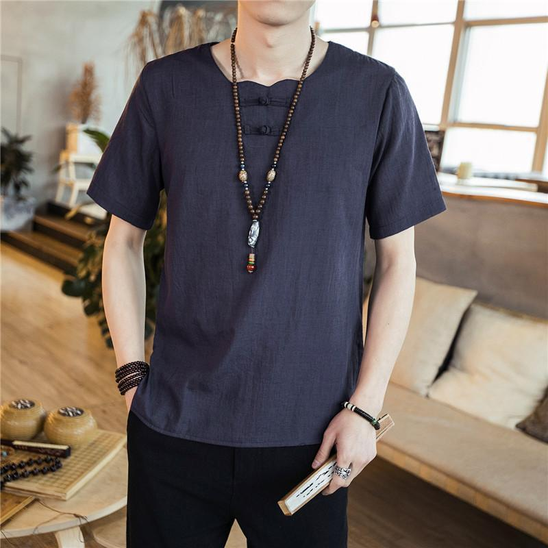 Retro Round Neck Solid Color Cotton And Linen T-Shirt