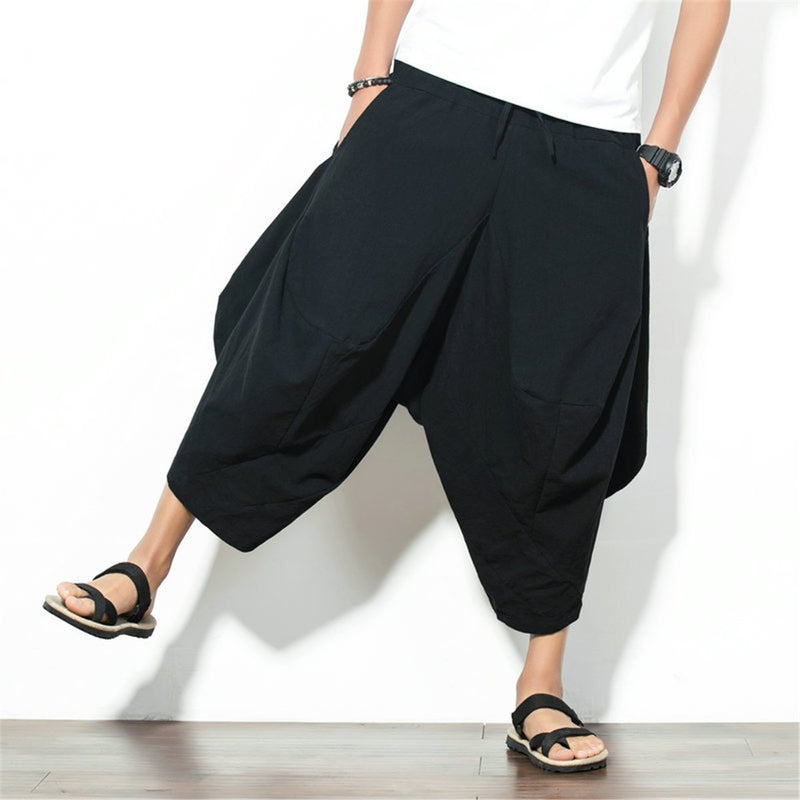 2019 Summer Linen Men's Casual Vintage Wide Leg Pants